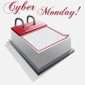 Calendario cyber lunes sobre un fondo blanco — Vector de stock