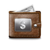 Leather wallet with dollar USA, vector image — Stock Vector