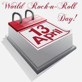 Calendar 13 April .World Rock-n-roll Day — Stock Vector