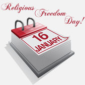 Calendar 16 January Religious Freedom Day — Stock Vector