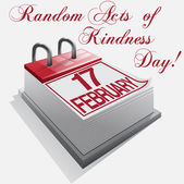 Calendar 17 February Random Acts of Kindness Day — Vettoriale Stock