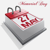 Calendar 27 May Memorial Day — Stock Vector