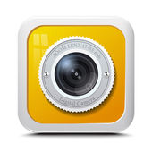 Icon camera yellow isolated on a white background. Vector — Stock Vector