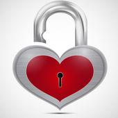 Open metal heart the padlock — Stock Vector