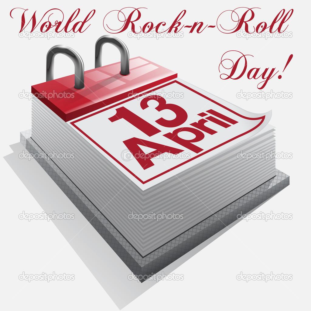 Calendario día 13 de abril .la rock ' n ' roll — Vector ...