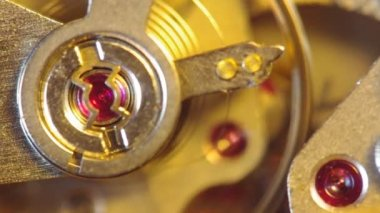 Clockwork of a chronograph. Extreme closeup. Macro — Stock Video