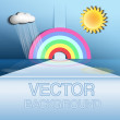 Abstract vector background, rainbow, the sun, cloud, rain — Stock Vector