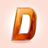 Alphabet wooden, letter D. Vector — Stockvector