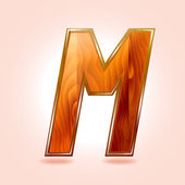 Alphabet wooden, letter M. Vector — Stock Vector