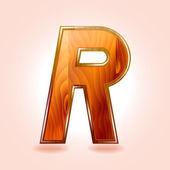 Alphabet wooden, letter R. Vector — Stock Vector