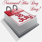 Calendar 18 July, National Hot Dog Day . Vector — Stock Vector