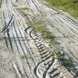 Stock Photo: Rural road, trace of tyre in the sand