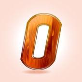 Figure zero, wooden 0. Vector — Stock Vector