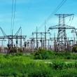 Pylons with electric lines — Stock Photo
