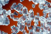 Crystals on a orange background. Extreme closeup. Macro — Stock Photo