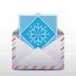 Envelope with a snowflake inside, e-mail icon. Vector  — Imagen vectorial