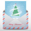 Envelope with an a fur-tree inside, Merry Christmas icon.Vector — Stock Vector