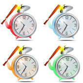 Set, colour alarm clocks — Stock Vector