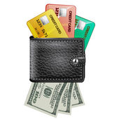 Leather wallet  with credit cards and dollars USA on a white bac — Stock Vector