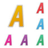 Letter A, set of colour variants, on a white background. Vector — Stock Vector
