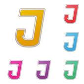 Brief j, aantal kleurvarianten, op een witte achtergrond. vector — Stockvector