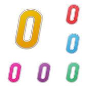 Letra o conjunto de variantes de color, en fondo blanco. vector — Vector de stock