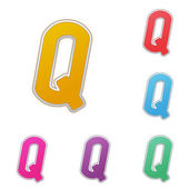 Letter Q, set of colour variants, on a white background. Vector — Stock Vector