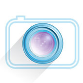 Lens, camera icon, blue. Vector — Stock Vector