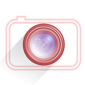 Lens, camera icon, red. Vector — Stock Vector