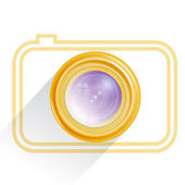 Lens, camera icon, yellow. Vector — Stock Vector