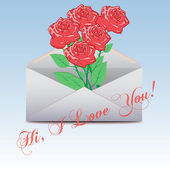 Envelope  with an a roses. I Love You. Vector — Stock Vector