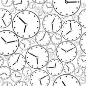 Seamless black-and-white clock pattern for background. Vector — Stock Vector
