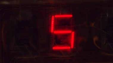 The electronic clockwork, one of the first light-emitting diode displays, extreme closeup. Macro — Stock Video