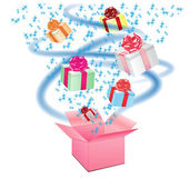 Open cardboard box with an a gifts on white background — Stock Vector