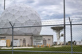 Launch Tracking Station with Geodesic Radome Against a Darkening Sky — Stock Photo