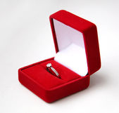 Wedding ring in a gift box on white background — Stock Photo