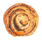 Sweet bun with poppy seeds top view — Stock Photo