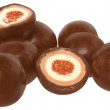 Candy chocolate balls with cream filling isolated — Stock Photo