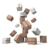 Crumbling tower of cardboard boxes — Stock Photo