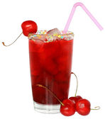 Fruit cocktail with cherry and ice cubes in a glass — Stock Photo