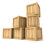 Three-dimensional image of a heap of wooden boxes — Stock Photo