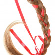 Women braid decorated with a red bow isolated on white. — Stock Photo