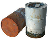 Two old, dirty with peeling paint barrel. — Stock Photo