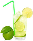 Mojito cocktail with green lime and drinking straw in highball g — Stock Photo