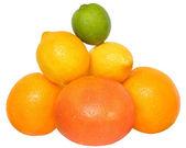 Heap apelsin, citron, grapefrukt och lime — Stockfoto