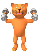 A three-dimensional image of a cat with dumbbells. — Stock Photo