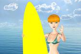 Surfer Girl. — Stock Photo