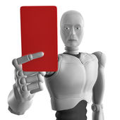 Robot with a red card. — Stock Photo