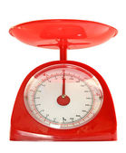 Red kitchen scales — Stock Photo