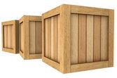 木製ボックスのグループの 3 d イメージ — ストック写真